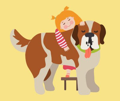 Cartoon drawing of dog and a little girl hugging the dog