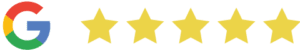 Google logo with 5 review stars