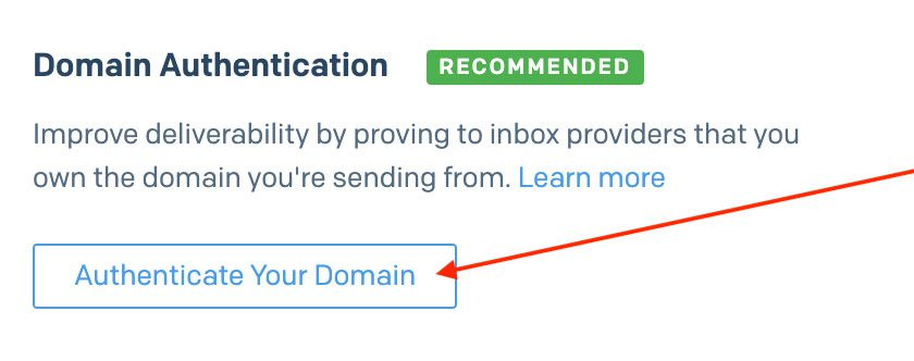 Click Authenticate Your Domain
