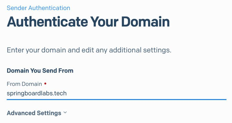 SendGrid type in your domain name address