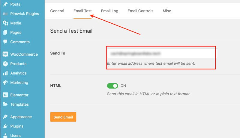 WP Mail SMTP Settings - send test email