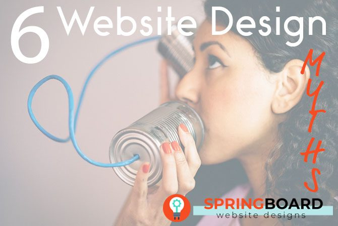 Woman talking on tin can with rope representing how myths about website design are spread