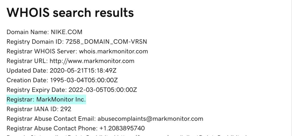 Nike.com domain name registrar