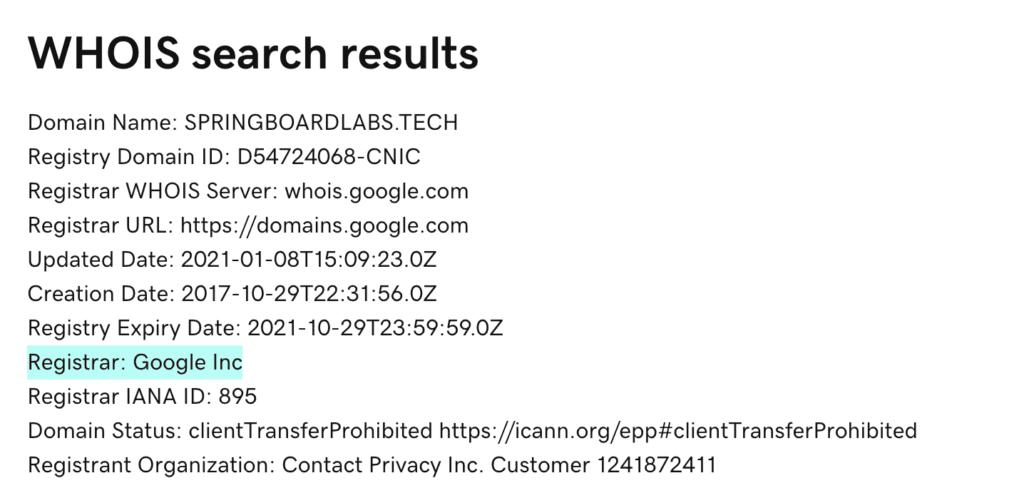 Springboard Website Designs's domain name registrar