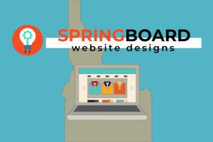 Springboard Website Designs logo with outline of the state of Idaho and showing a online website business